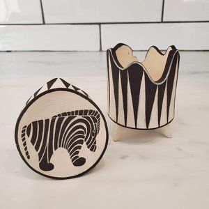Hand Painted Zebra Ceramic Jar with Lid, Gift It!